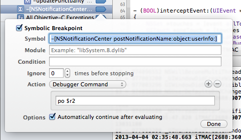 Xcode NSNotification breakpoint settings