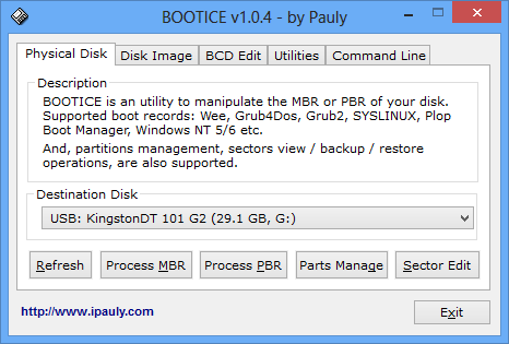 Bootice 1.0.4 Main Screen