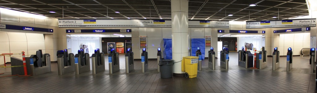 New signage and fare gates at Burrard SkyTrain Station