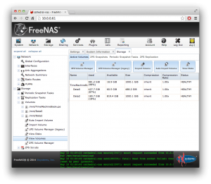 FreeNAS web interface