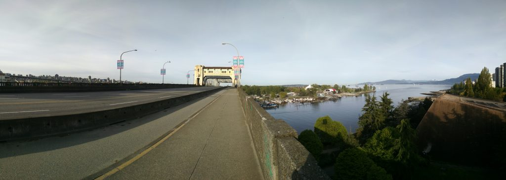 Burrard Street Bridge empty prior to the Vancouver Sun Run