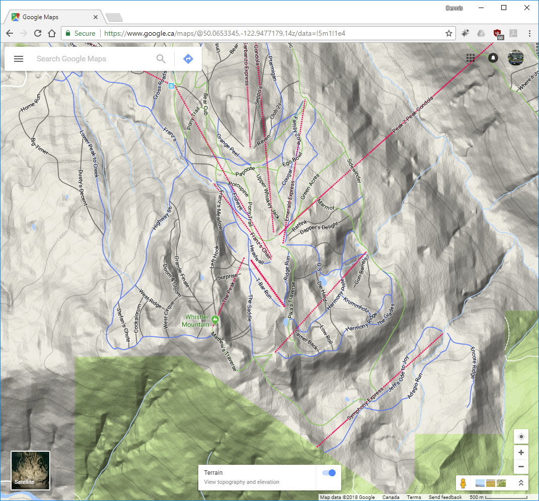 Whistler Ski Run Topographic Map Dennis Tsang - Google maps topo