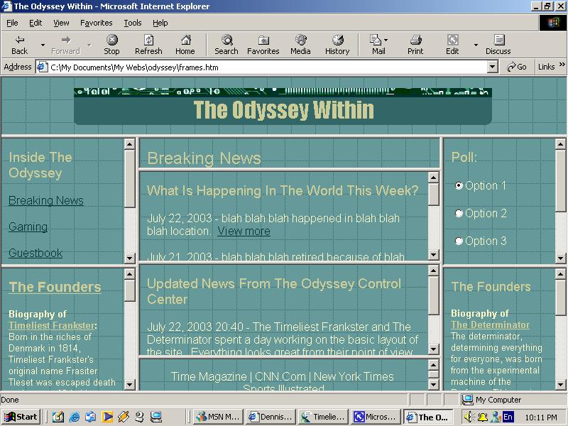 Odyssey Web Mockup with 9 frames