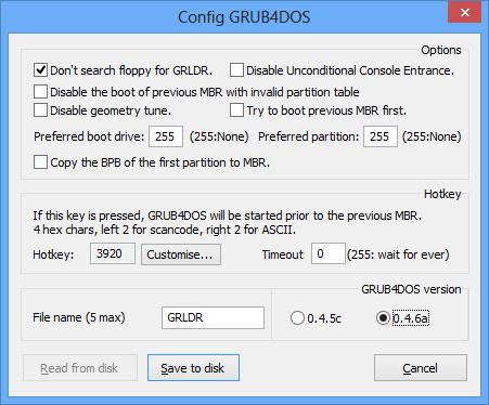 Configuring grub4dos