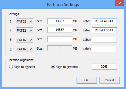 Editing the desired partition sizes