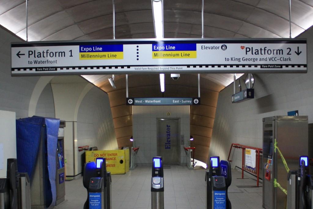 Platform Signage at Granville SkyTrain Station