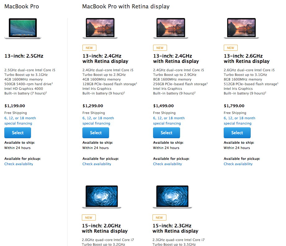 MacBook Pro listing on the Apple Store