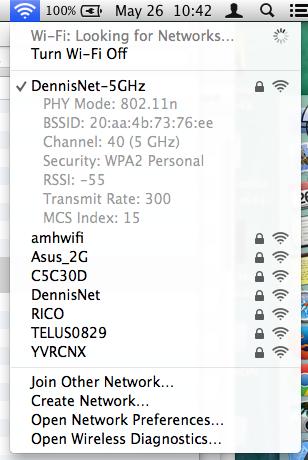 Wi-Fi Detail Menu