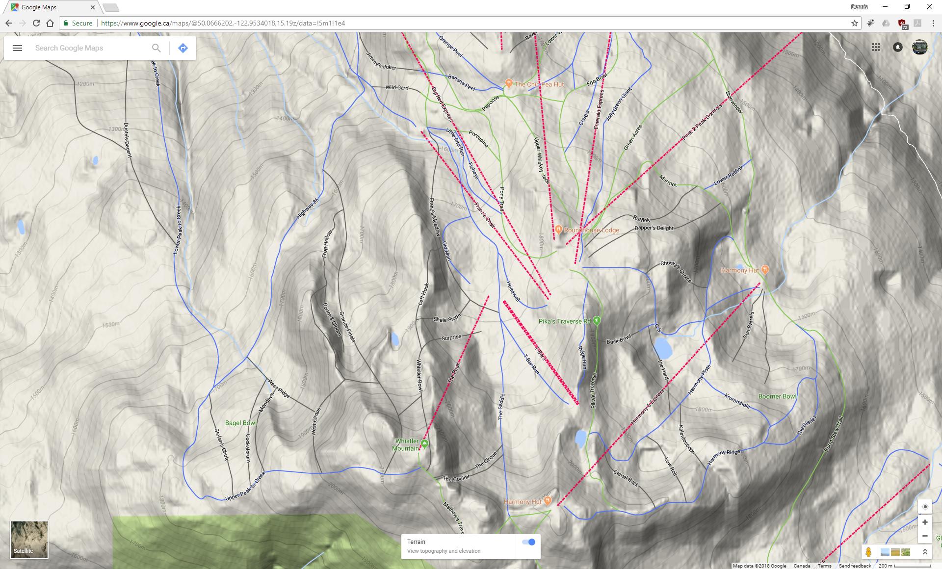 Whistler Ski Run Topographic Map Dennis Tsang - Google maps topographic view
